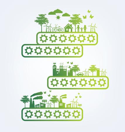 ecosistema: Concepto de la ecología. guardar la ilustración vectorial mundo.