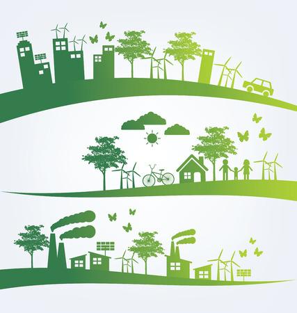 energia solar: Concepto de la ecología. guardar la ilustración vectorial mundo.