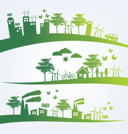 green banner: Ecology concept. save world vector illustration. Illustration