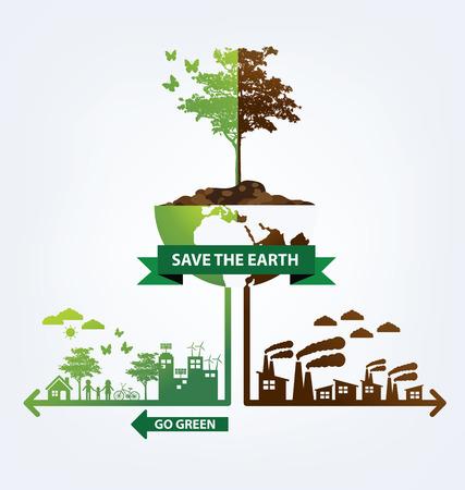 生態学の概念。世界のベクトル図を保存します。