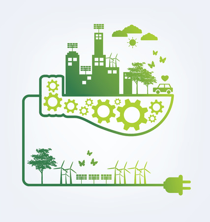 green building: Ecology concept. save world vector illustration. Illustration