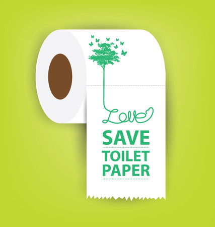 soft tissues: Save Toilet paper vector illustration