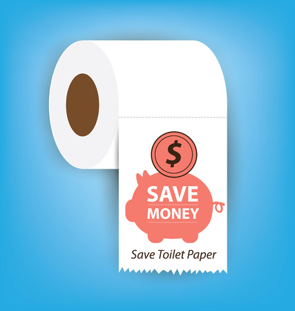 soft tissues: Save money. Save Toilet paper vector illustration. Illustration