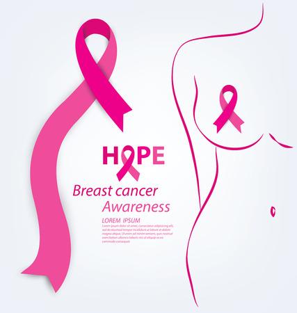 cancer de mama: cuidado de la salud y el concepto de la medicina. rosa del cáncer de pecho cinta de la conciencia ilustración vectorial.