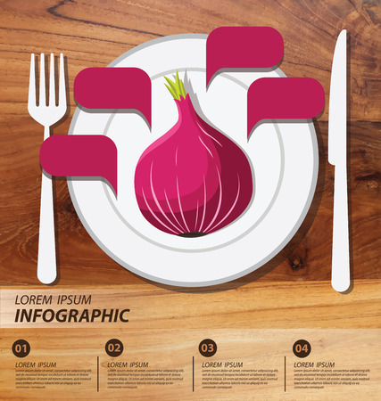 Red onion , infographics. vegetables vector illustration Vector