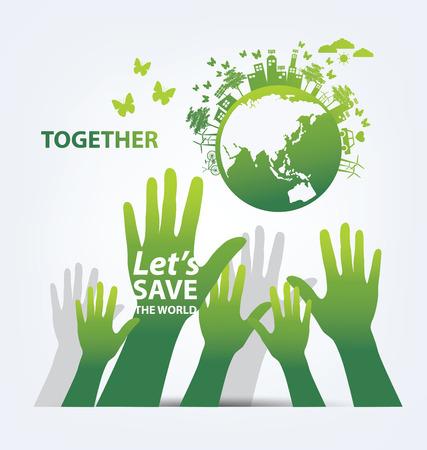 planeta verde: Ecolog�a concepto guardar ilustraci�n del mundo. Vectores