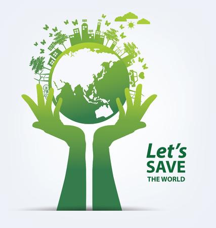 medio ambiente: Ecología concepto guardar ilustración del mundo. Vectores