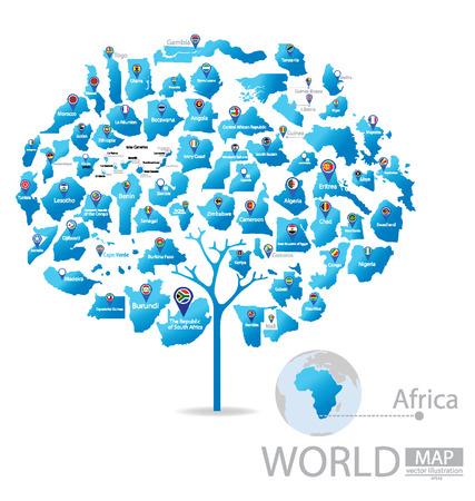 la conception de l'arbre. Les pays d'Afrique. drapeau. Carte du monde illustration vectorielle.
