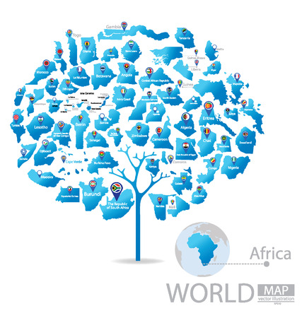 ethiopia abstract: Tree design. Countries in Africa. flag. World Map vector Illustration. Illustration