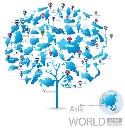 Tree design. Countries in Asia. flag. World Map vector Illustration. Vector