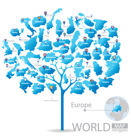 Tree design. Countries in Europe. flag. World Map vector Illustration. Illustration