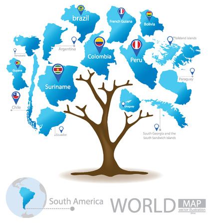 port of spain: Tree design. Countries in South america. World. Map vector Illustration. Illustration