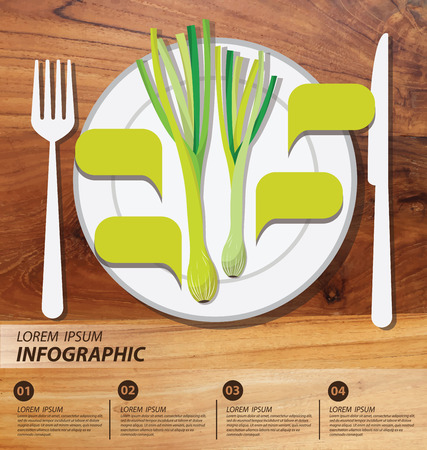spring onion , infographics. vegetables vector illustration Vector