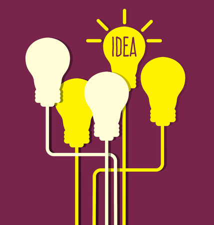 bright ideas: Light bulb with idea concept Illustration