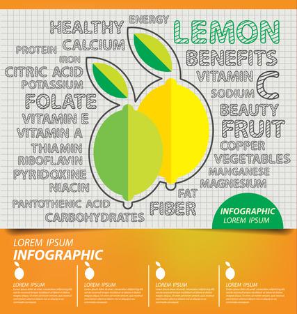 Lemon, infographics. fruits vector illustration.