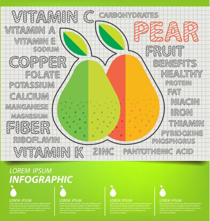 pear, infographics. fruits vector illustration. 矢量图像