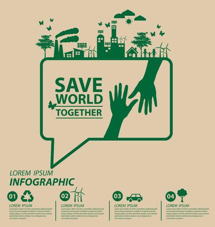 Ecology concept. save world vector illustration.  イラスト・ベクター素材