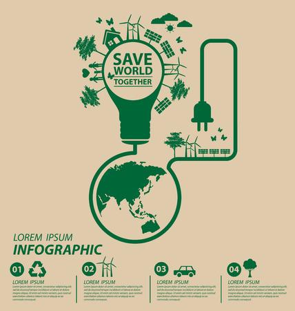 Kologie-Konzept. sparen Welt Vektor-Illustration. Standard-Bild - 42441965