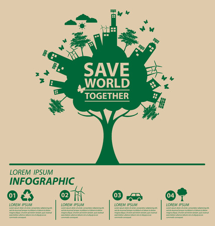 bio energy: Ecology concept. save world vector illustration. Illustration