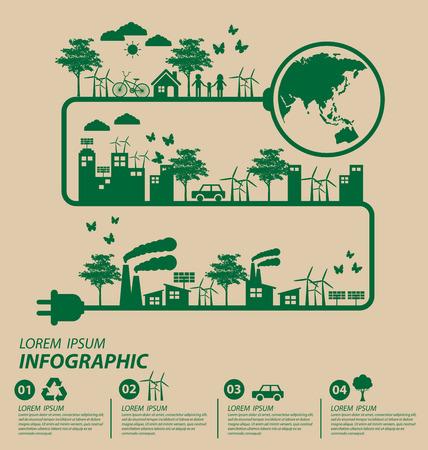 energy saving: Concepto de la ecología. guardar la ilustración vectorial mundo.