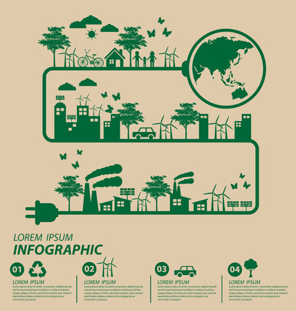 creative industry: Ecology concept. save world vector illustration. Illustration
