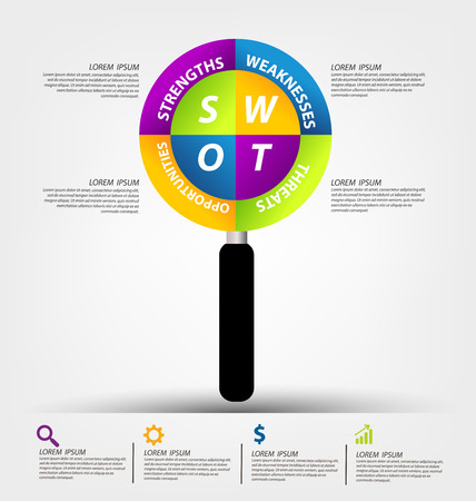 swot: Swot analysis. Business concept vector.