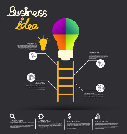 business education: Light bulb with idea concept. Business infographic vector illustration.