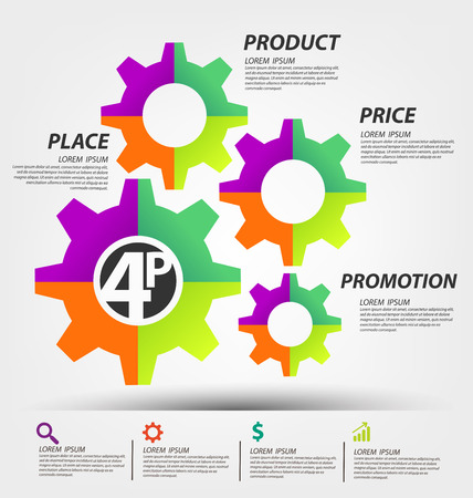 4P marketing mix. Business concept vector illustration.