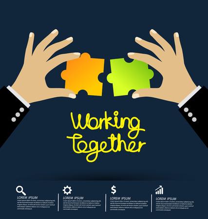 Working together concept vector illustration. Ilustração