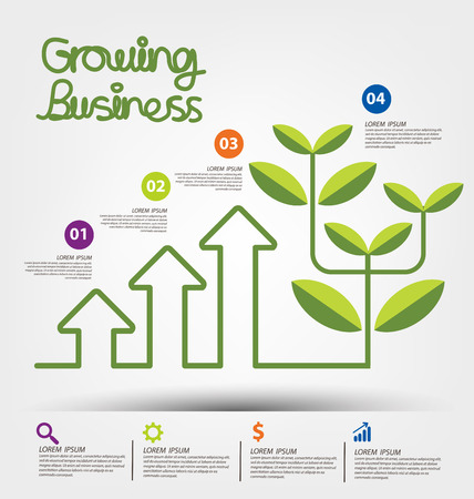 desarrollo econ�mico: El crecimiento del negocio concepto de ilustraci�n vectorial.