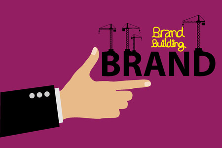 creating: Brand building concept vector illustration.