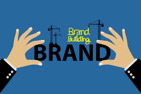 ブランド コンセプトのベクトル図を構築します。  イラスト・ベクター素材