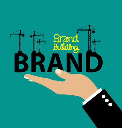 Brand building concept vector illustration.