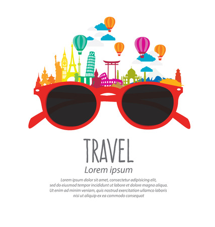 turismo: Viajes y turismo concepto vector Ilustración