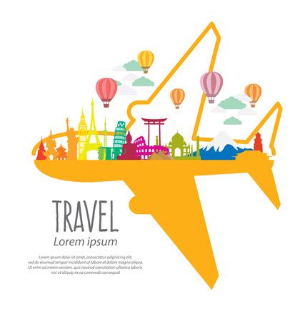 Cestování a cestovní ruch koncepce vektorové ilustrace Ilustrace
