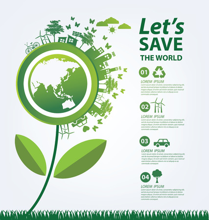 ahorro energia: Concepto de la ecología. guardar ilustración del mundo.