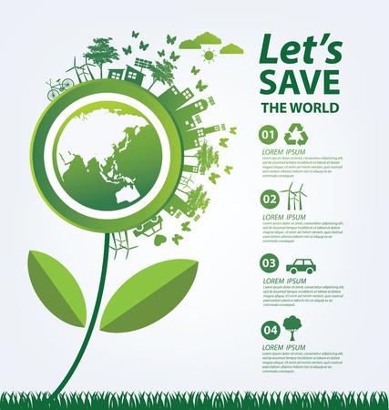Ecologie concept. sparen wereld illustratie. Stock Illustratie