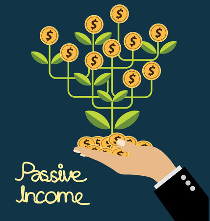 money hand: passive income concept vector Illustration