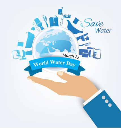 water conservation: World Water Day concept. Vector illustration.