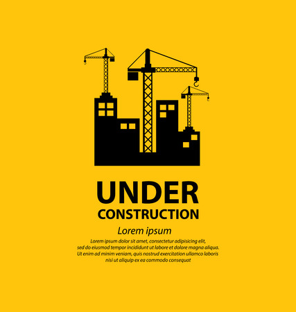 website template: under construction background vector illustration