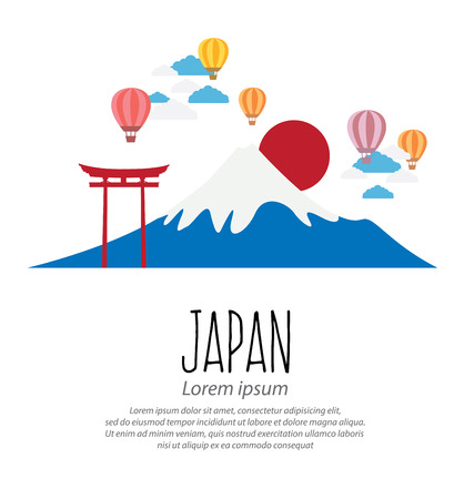 torii: gate Torii, Mount Fuji, Japan, Travel and tourism concept vector Illustration
