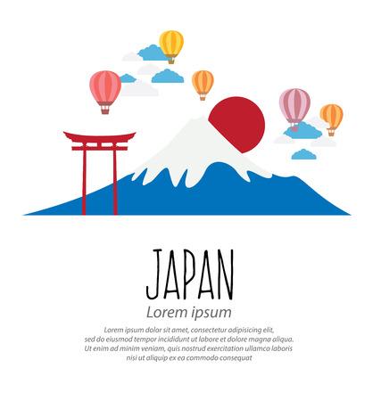 torii: gate Torii, Mount Fuji, Japan, Travel and tourism concept vector Illustration