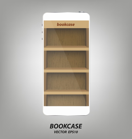 bookcase: Smartphone with wooden bookcase background on screen for ebook