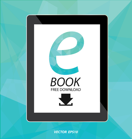 tablet vector: E-book display on tablet vector
