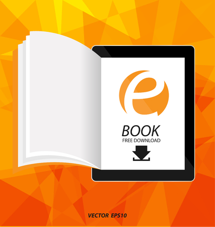 E-book display on tablet vector