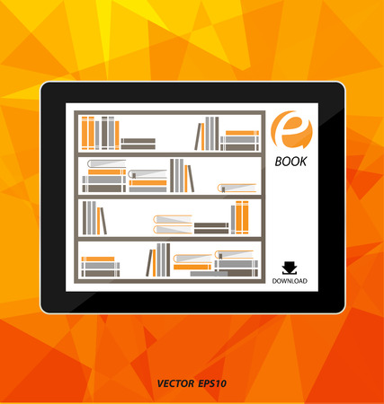 news reader: E-book display on tablet vector