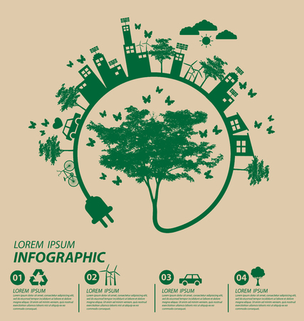 Ecology concept. save world vector illustration. Vettoriali