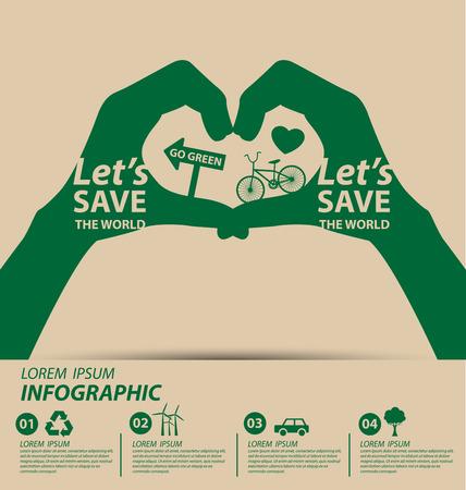 mundo manos: Concepto de la ecología. guardar la ilustración vectorial mundo.