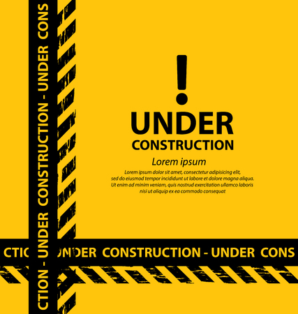 construction signs: under construction background vector illustration