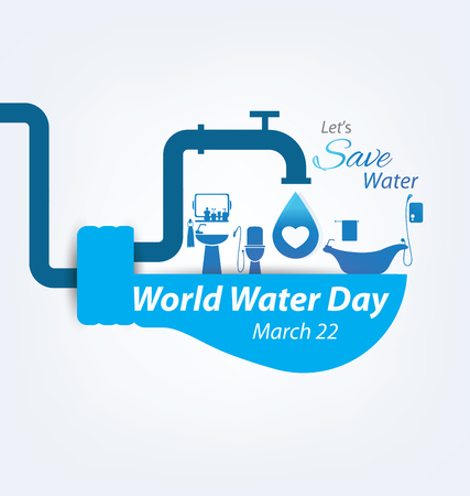 agua: Ahorra agua. Concepto del Día Mundial del Agua. Ilustración del vector.